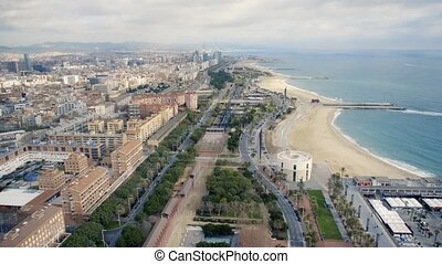 time lasps roads Barcelona - High angle view of elevated...