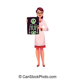 Female radiologist showing an x-ray image of skeleton,...