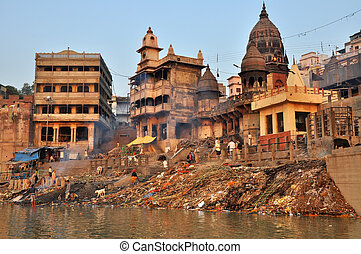 Burning Ghat in Varanasi, India - VARANASI, INDIA - 29...