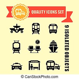 transport icons with red tape - isolated transport icons set...