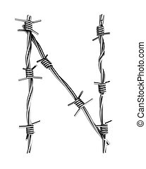 Barbed wire alphabet, N