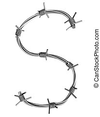 Barbed wire alphabet, S - Letter, made of barbed wire