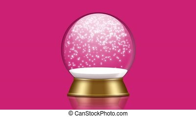 snowglobe animation with falling snow on a pink background