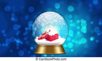 snowglobe animation with red gift box on a blue background