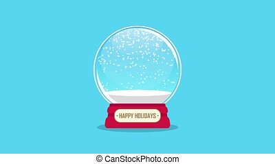 snowglobe animation with falling snow