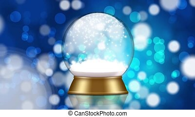 snowglobe animation on a blue background