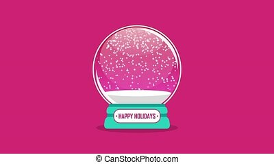 snowglobe animation with falling snow on a pink background...