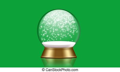 snowglobe animation with falling snow on a green background