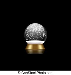 snowglobe animation with falling snow on a black background
