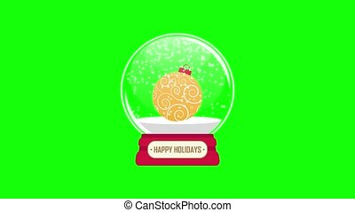 snowglobe animation with falling snow on a green background...