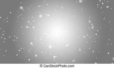 Falling snow on a gray