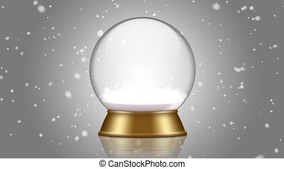 snowglobe animation on a gray background