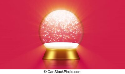 snowglobe animation with falling snow on a red background