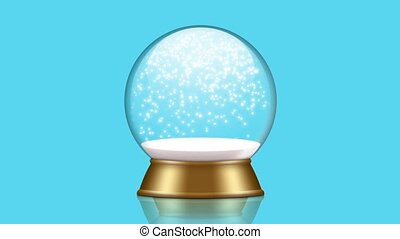 snowglobe animation with falling snow on a blue background