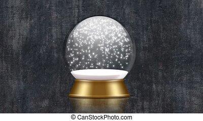 snowglobe animation with falling snow on a black grunge...
