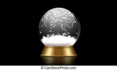 snowglobe animation on a black background