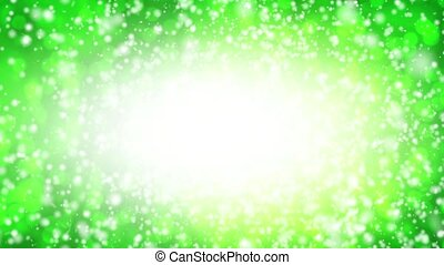 Falling snow on a green background