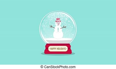 snowglobe animation with falling snow on a blue background...