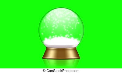 snowglobe animation on a green background