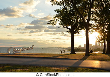 Relaxing Morning view of Cleveland skyline and Lake Erie from Edgewater park