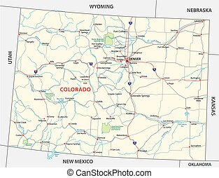 colorado national park map - colorado road and national park...