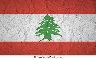 Lebanon flag with the effect of crumpled paper and grunge -...