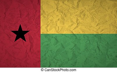 Flag of Guinea Bissau with the effect of crumpled paper and...