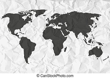 World map in black on a background crumpled paper