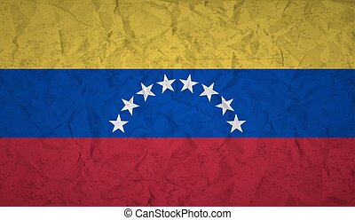 Venezuela flag with the effect of crumpled paper and grunge...