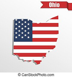 Ohio State map with US flag inside and ribbon