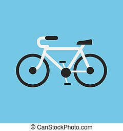 Bicycling in a flat design on a blue background. Vector illustration
