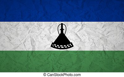 Lesotho flag with the effect of crumpled paper and grunge -...