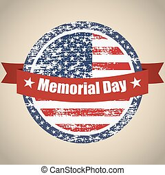 USA grunge flag on button stamp with ribbons Memorial Day