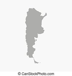 Map of Argentina in gray on a white background - Map of...