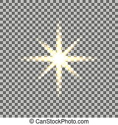 Yellow glowing light burst with transparent on isolated background