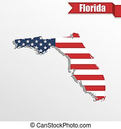Florida State map with US flag inside and ribbon - Florida...