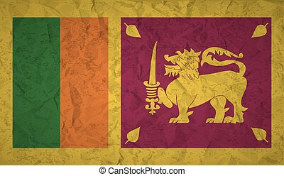 Flag of Sri Lanka with the effect of crumpled paper and...