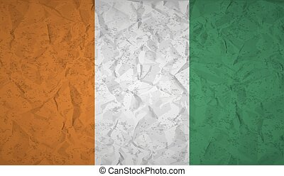 Flag of Ivory Coast with the effect of crumpled paper and...
