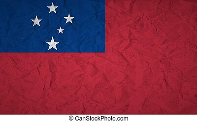 Flag of Samoa with the effect of crumpled paper and grunge -...