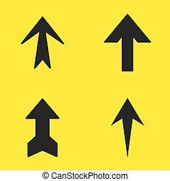 Set of black arrows on a yellow background. Vector illustration