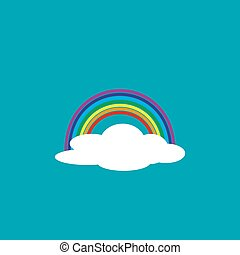 White cloud with a rainbow in a flat design. Vector illustration