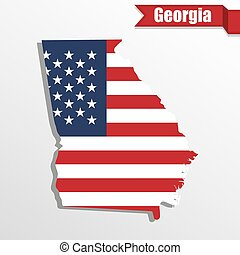 Georgia State map with US flag inside and ribbon