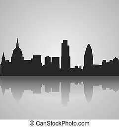 Black silhouette of London with reflection. Vector illustration