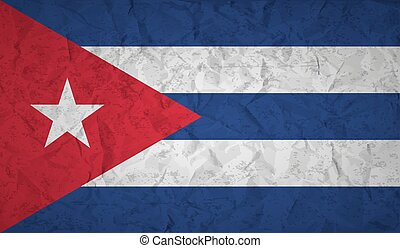 Flag of Cuba with the effect of crumpled paper and grunge