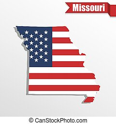 Missouri State map with US flag inside and ribbon