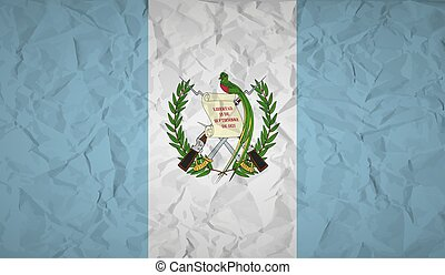 Guatemala flag with the effect of crumpled paper. Vector illustration