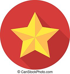 Gold star on a background of a red circle with a shadow