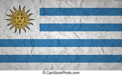 Uruguay flag with the effect of crumpled paper and grunge -...