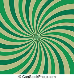 Retro ray background green color. Vector illustration