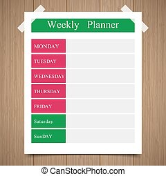 weekly planner, daily planner on a wooden background